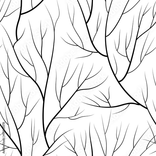 Floral seamless pattern. Branch without leaves tiled nature background. - 111443078