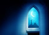 Ramadan Kareem background. .Mosque window with shiny crescent mo