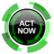 act now icon, green modern design isolated button, web and mobile app design illustration