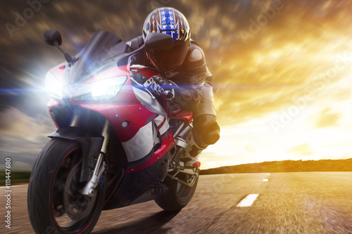 Poster Sport Biker Racing on Road