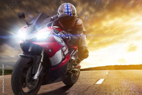 Poster Sport Biker Racing on Road