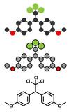 Methoxychlor pesticide molecule.