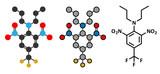 Trifluralin herbicide molecule.