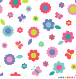 Butterflies and cute flower pattern vector background.