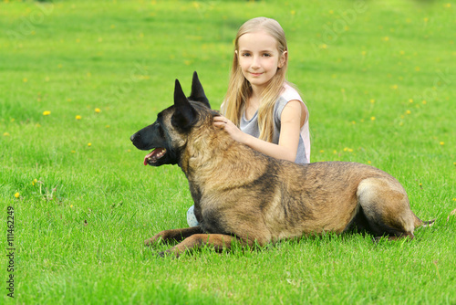Fototapeta girl with dogs