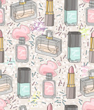 Seamless beauty pattern with make up, perfume, nail polish. Background for girls or women. - 111470443
