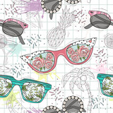 Cute summer abstract pattern. Seamless pattern with sunglasses. Fun pattern for children or teenager girls. - 111470604