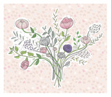Cute floral background. Printable wall art with flowers. Vector - 111470698