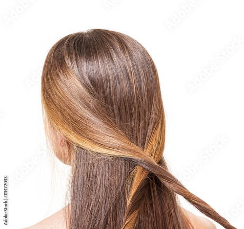 The girl with long brown hair braided strands of isolated. Poster