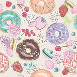 Seamless breakfast pattern with flowers, donuts, fruits, berries - 111472292
