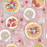 Seamless breakfast pattern with flowers, waffles, fruits, berrie - 111472299