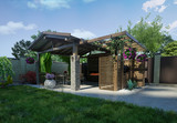 Outdoor seating area, 3d rendering