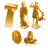 Greek Golden statues, column, shield and jugs