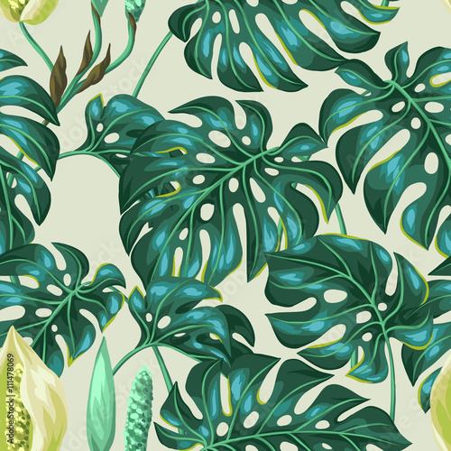 Cotton fabric Seamless pattern with monstera leaves. Decorative image of tropical foliage and flower. Background made without clipping mask. Easy to use for backdrop, textile, wrapping paper