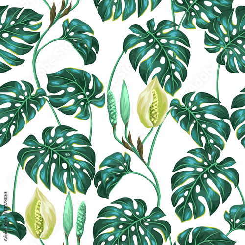 Materiał do szycia Seamless pattern with monstera leaves. Decorative image of tropical foliage and flower. Background made without clipping mask. Easy to use for backdrop, textile, wrapping paper