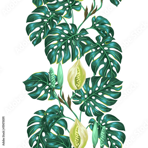 bezszwowy-wzor-z-monstera-liscmi-dekoracyjny-wizerunek-tropikalny-ulistnienie-i-kwiat-tlo-wykonane-bez-maski-przycinajacej-latwy-w-uzyciu-dla-tla-tekstyliow-papieru-do-pakowania