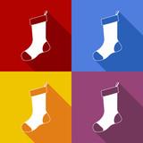 Icono plano media de Navidad con sombra en varios colores