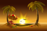 Evening beach. Sea, sun, palm trees and sand. Romantic summer vacation