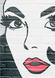 Fototapety Art urbain, visage d'une jeune femme