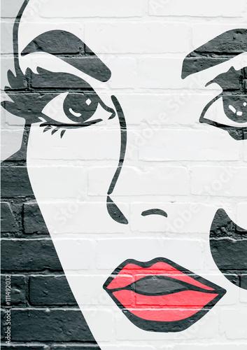 Art urbain, visage d'une jeune femme Poster