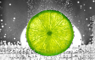Cut lime in the water