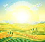Landscape background. Summer sunrise rural landscape with rolling hills and fields.
