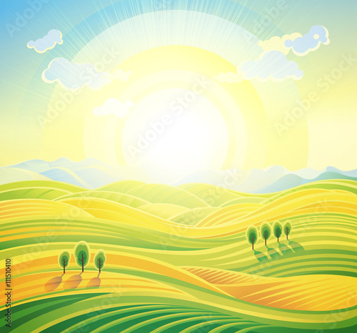 Papiers peints Jaune de seuffre Landscape background. Summer sunrise rural landscape with rolling hills and fields.