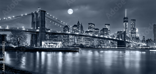 Foto Murales Night panorama of of New York City with the moon in the sky