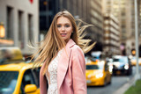 Fototapety Portrait of the blonde with flyaway hair in the background of New York City street with taxi cabs