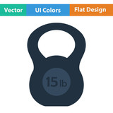 Flat design icon of Kettlebell