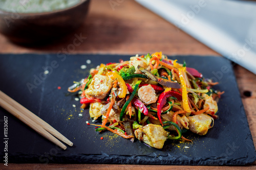 Poster Stir Fried Chicken Meat With Various Vegetable