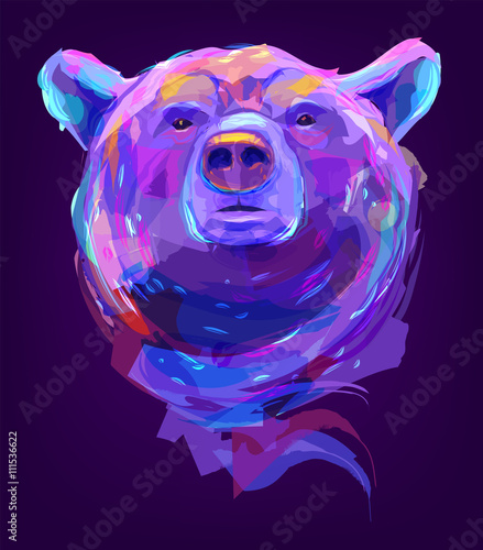 The cute colored bear head - 111536622