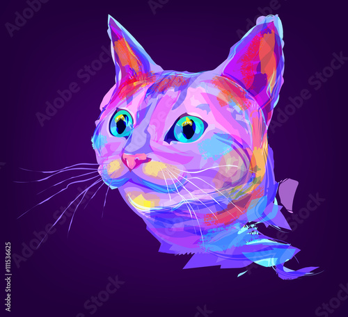 The cute colored cat head - 111536625