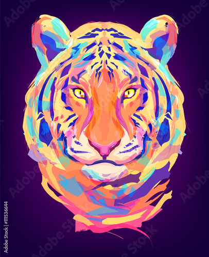The cute colored tiger head - 111536644