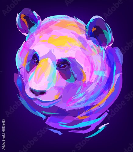 The cute colored panda head - 111536653