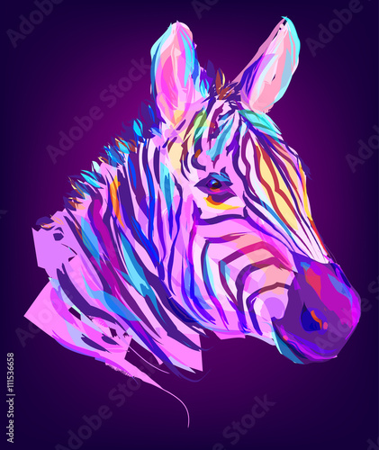 The cute colored zebra head - 111536658