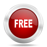 free icon, red round glossy metallic button, web and mobile app design illustration
