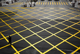 criss-cross yellow lines painted on the road