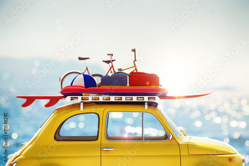 Sticker 3D rendering of holiday on the road