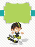 Card with a cute happy cartoon boy on a skate
