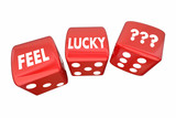 Feel Lucky Two Red Dice Roll Take Chance Challenge 3d Illustrati
