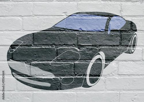 Art urbain, voiture de sports Poster