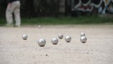 Petanque Boulodrome In Paris, France. Pétanque is a form of boules where the goal is to throw steel balls as close as possible to a small wooden ball called a cochonnet.