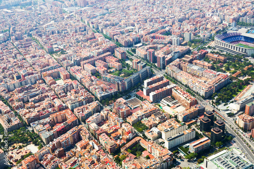 Poster residential  district in Barcelona from helicopter