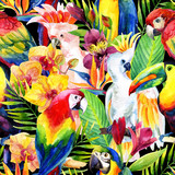 watercolor parrots with tropical flowers seamless pattern - 111570050