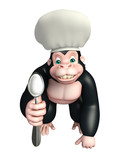 Gorilla cartoon character with chef hat and spoon