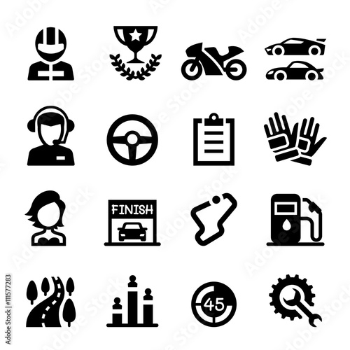 Poster Racing icon set