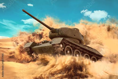 Battle Tank porusza się na pustyni