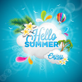 Fototapety Vector Hello Summer Holiday typographic illustration with tropical plants, flower and hot air balloon on blue background.