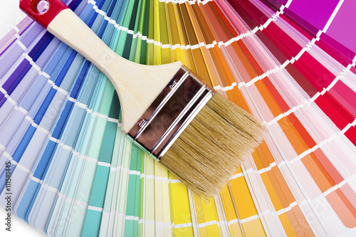 catalog with paint color samples and brush